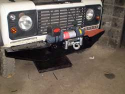Winche on the front of a Land Rover